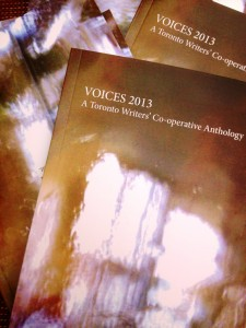An image of the Voices 2013 anthology book cover, itself a blurred image of light coming through a window on a brownish background.