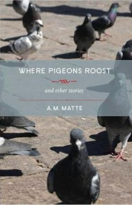 Cover of short story collection Where Pigeons Roost, featuring a photgraph of pigeons strutting about on a sunny pavement.