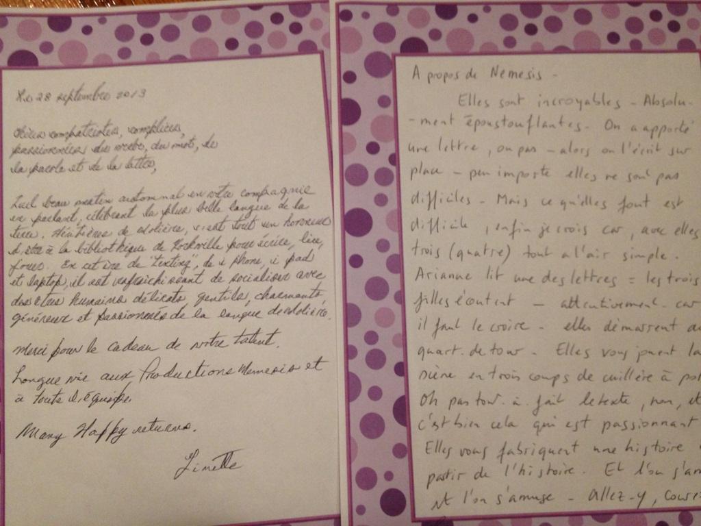 Deux lettres d'amour au spectacle La lettre