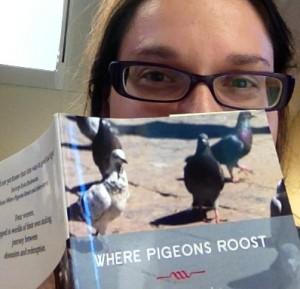 A.M. Matte derrière le livre Where Pigeons Roost, dont la couverture présente une volée de pigeons