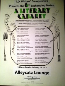 Literary Cabaret poster, highlighting the evening line-up of readers, including A.M. Matte