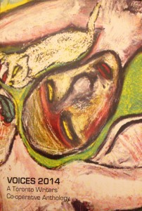 Front cover of Voices 2014 anthology, a painting of an upside-down face, in pink and green hues.