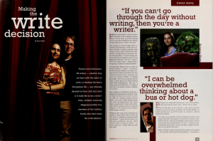 "A screen capture of the Carleton magazine feature ""Making the Write Decision"", featuring A.M. Matte."